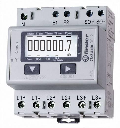 DIN sínre szerelhető 3 fázisú digitális fogyasztásmérő 65A, MID hiteles, Finder 7E.46.8.400.0012