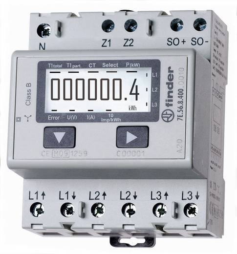 DIN sínre szerelhető, digitális fogyasztásmérő 6 A, 3 x 230 V/AC, 3 fázis, MID, Finder 7E.56.8.400.0010