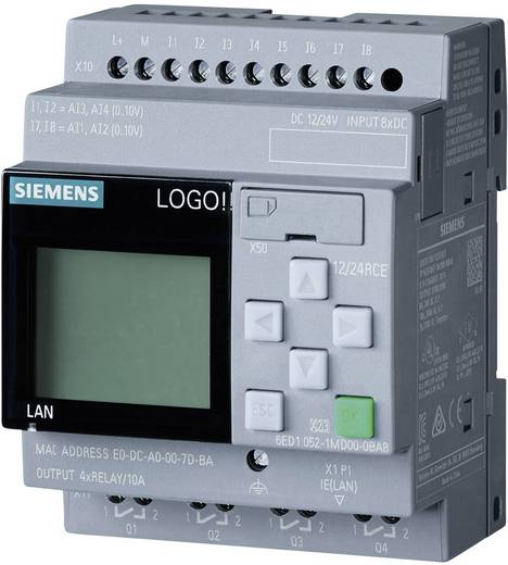 Siemens LOGO! 8 Kalapsínre szerelhető logikai vezérlő modul, okostelefon alkalmazással 12/24V 6ED1052-1MD00-0BA8