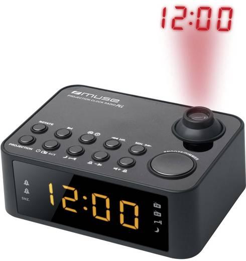 Digitális ébresztőóra, kivetítős rádiós ébresztőóra LED-es kijelzővel, fekete színű Muse M 178 P