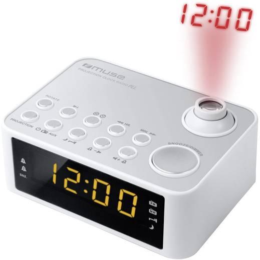 Digitális ébresztőóra, kivetítős rádiós ébresztőóra LED-es kijelzővel, fekete színű Muse M 178 PW