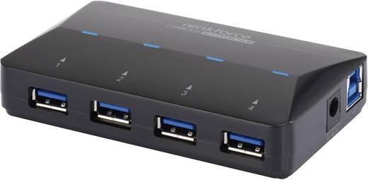 4+1 portos USB hub, gyorstöltő porttal, LED-es, Renkforce