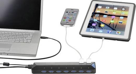 7+2 portos USB hub, gyorstöltő porttal, LED-es, Renkforce