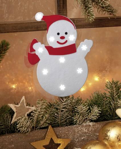 LED-es ablakdísz, hóember, fehér/piros, Polarlite LDE-02-004