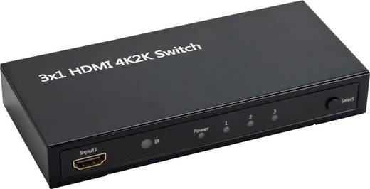 HDMI Switch, Ultra HD 3648 x 2160 pixel, 3D, 3 port, távirányítóval, SpeaKa Professional