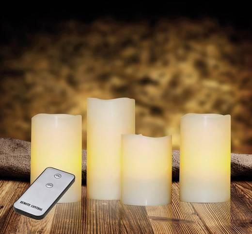 LED-es gyertya készlet, LED mécses távirányítóval, borostyán, 7,5 x 15 cm, 4 db, X4-LIFE