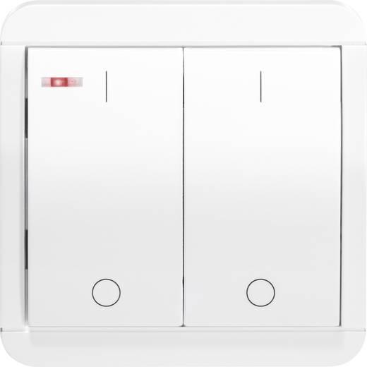 Vezeték nélküli, 2 csatornás fali kapcsoló, max. 150m, fehér, renkforce RS2W