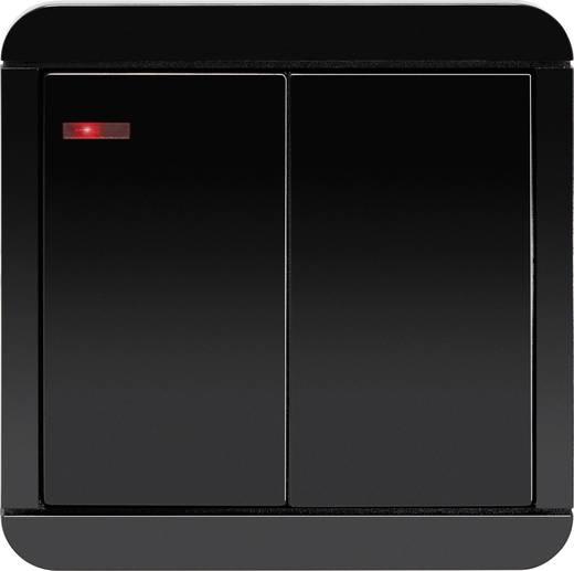 Vezeték nélküli, 2 csatornás fali kapcsoló, max. 150m, fekete, renkforce RS2W