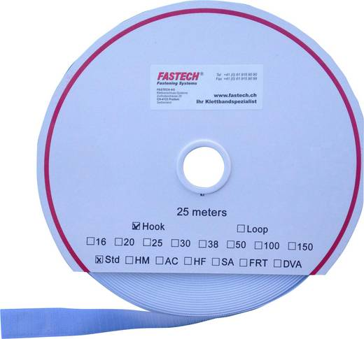 Tépőzár Felvarráshoz Horgos fél (H x Sz) 25000 mm x 38 mm Fehér Fastech T0103800000125 25 m