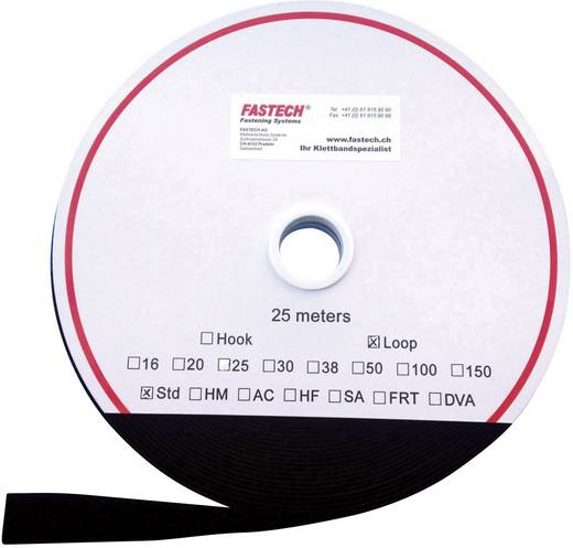 Tépőzár Felvarráshoz Bolyhos fél (H x Sz) 25000 mm x 38 mm Fekete Fastech T0203899990125 25 m