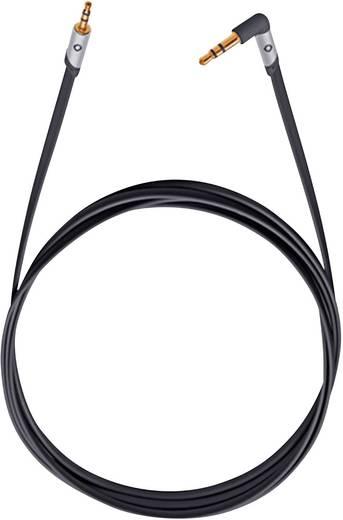 Jack audio kábel, 1x 3,5 mm jack dugó - 1x 3,5 mm jack dugó 90°, 1,5 m, aranyozott, fekete, OFC, Oehlbach iJack 25