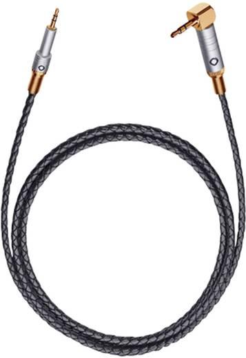 Jack audio kábel, 1x 2,5 mm jack dugó - 1x 3,5 mm jack dugó 90°, 1,5 m, aranyozott, fekete, Oehlbach XXL iJack 25