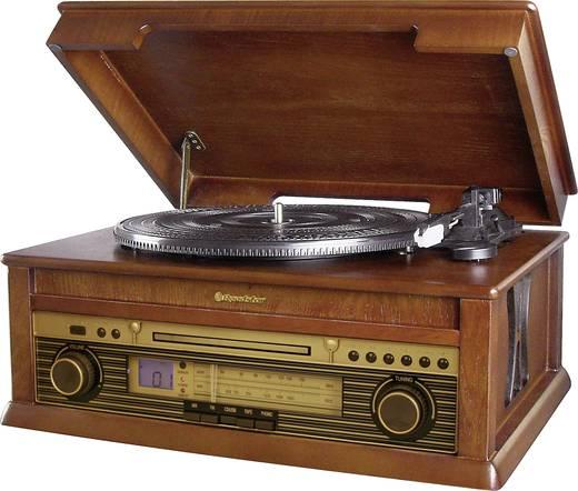 Asztali retro rádió, retro lemezjátszó, MP3 CD lejátszóval, fa burkolatú Roadstar HIF-1799T