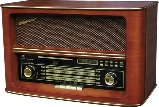Asztali retro rádió, nosztalgia rádió, USB, SD kártya és MP3 CD lejátszóval, fa burkolatú Roadstar HRA-1550USMP