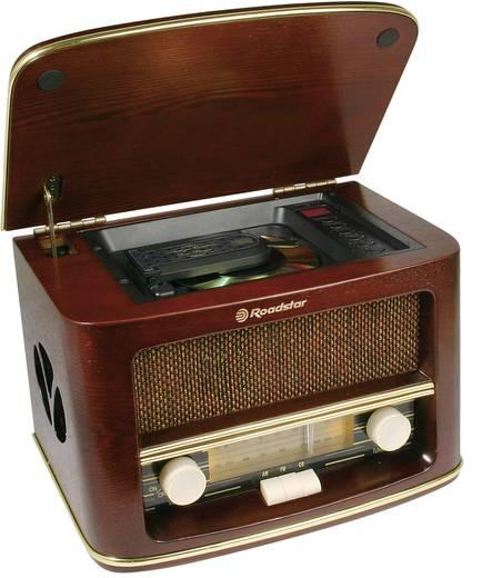 Asztali retro rádió, nosztalgia rádió, MP3 CD lejátszóval, fa burkolatú Roadstar HRA-1500MP