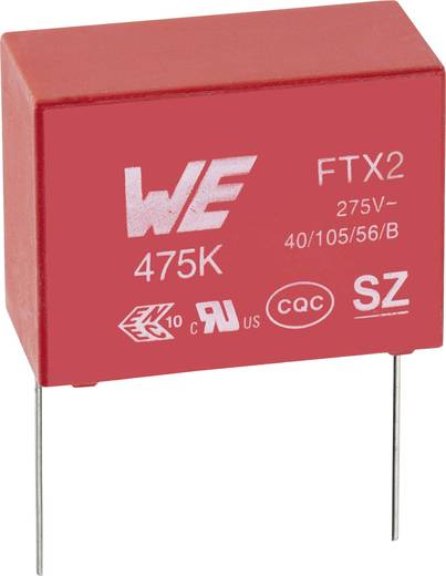 Zavarszűrő kondenzátor, X2, radiális 220 nF 275 V/AC 10 % 12,5 mm, 15 x 7 x 12,5 mm Würth Elektronik 890324024002CS