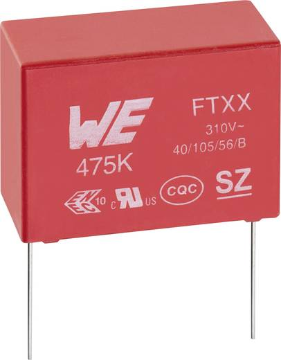 Zavarszűrő kondenzátor, X2, radiális 120 nF 310 V/AC 10 % 15 mm, 18 x 7,5 x 13,5 mm Würth Elektronik 890334025020CS