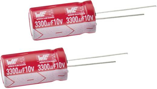 Radiális elektrolit kondenzátor 5 mm 10 µF 350 V 20 % (Ø x Ma) 10 x 25 mm Würth Elektronik WCAP-ATET 860131275005