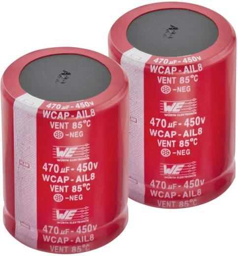 Elektrolit kondenzátor Snap-In 10 mm 390 µF 450 V 20 % (Ø x Ma) 40 x 32 mm Würth Elektronik WCAP-AIL8 861101487030