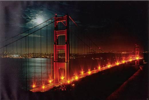 LED-es dekorációs falikép, Golden Gate híd Heitronic 34009