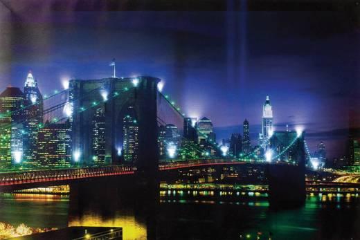 LED-es dekorációs falikép, Brooklyn híd Heitronic 34010