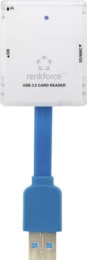 Külső memóriakártya olvasó USB 3.0 fehér, renkforce