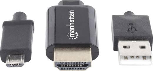 MHL – HDTV mikroUSB 5 pólusú – HDMI adatkábelkábel 1.50 m Fekete 1920 x 1080 pixel Manhattan 151498