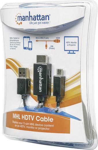 MHL – HDTV mikroUSB 11 pólusú – HDMI adatkábelkábel 1.50 m Fekete 1920 x 1080 pixel Manhattan 151511