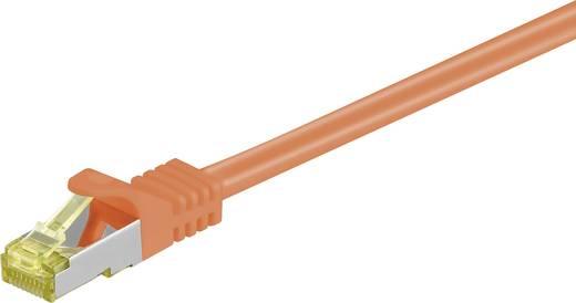 RJ45 Patch kábel, hálózati LAN kábel CAT 7 S/FTP [1x RJ45 dugó - 1x RJ45 dugó] 15 m Narancs aranyozott Goobay