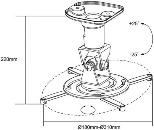 Mennyezeti projektor tartó konzol, dönthető, forgatható, max. távolság: 22 cm, fehér, LogiLink BP0003