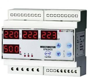 Programozható 3 fázisú DIN sínes AC multiméter, feszültség, áram, frekvencia, üzemóra, ENTES EPM-04C-DIN ENTES
