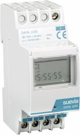 Suevia DIN sínes digitális heti időkapcsoló óra, 1 áramkör, 250V/16A, 50 program, DATA Log I