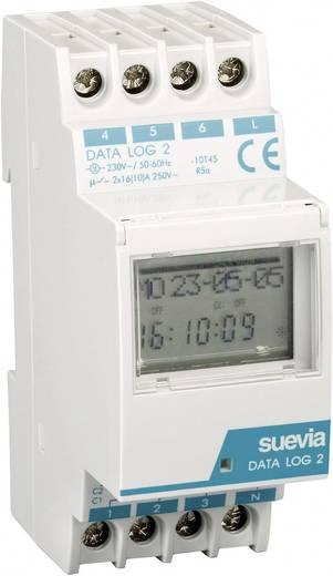 Suevia DIN sínes digitális heti időkapcsoló óra, 2 áramkör, 250V/16A, 50 program, DATA Log II
