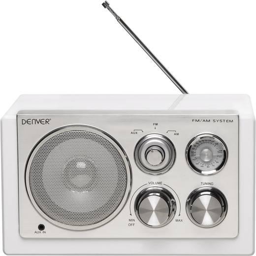 Asztali retro rádió, audio bemenettel, fehér színű Denver TR-61