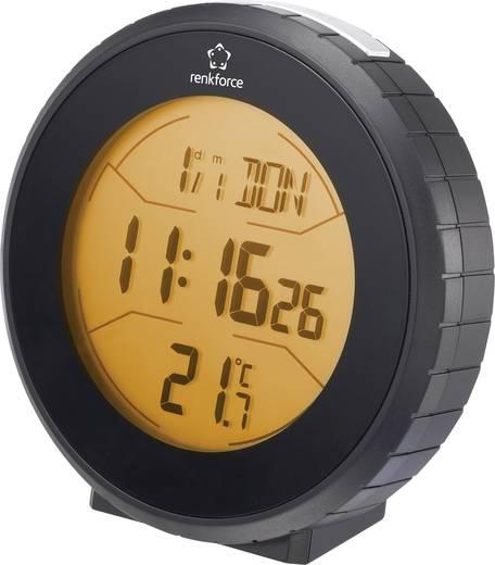 Rádiójel vezérelt ébresztőóra hőmérséklet kijelzéssel (Sz x Ma x Mé) 100 x 100 x 44 mm, fekete, Renkforce
