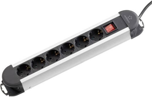 Hálózati elosztó, hosszabbító kapcsolóval, 6 részes, fekete/ezüst, Renkforce