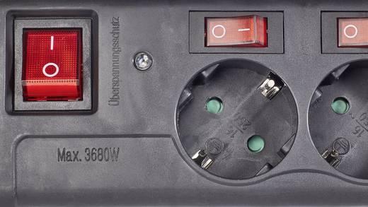 Hálózati elosztó túlfeszültség védelemmel, külön kapcsolós, 6 részes, fekete, renkforce 1296314