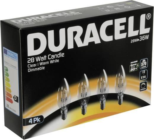 Eco halogén Duracell 230 V E14 28 W Melegfehér EEK: n/a Gyertya forma Dimmelhető 4 db