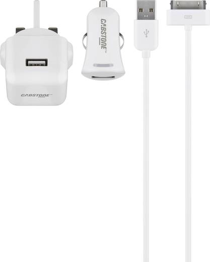 Aljzat dugó Cabstone 43454 2 x USB/Apple dock dugó, 30 pólusú Kimeneti áram (max.) 2100 mA UK adapterrel