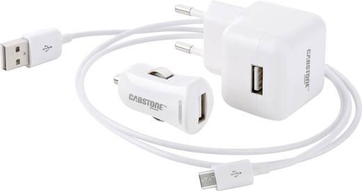 USB töltő készlet, hálózati USB töltő és szivargyújtó USB töltő Android készülékekhez 115-230V/AC 2100 mA Cabstone 43457