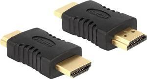 HDMI adapter, 1x HDMI dugó - 1x HDMI dugó, aranyozott, fekete, Delock Delock