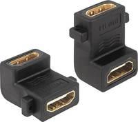 HDMI könyök adapter, 1x HDMI aljzat - 1x HDMI aljzat 90°, aranyozott, fekete, Delock Delock
