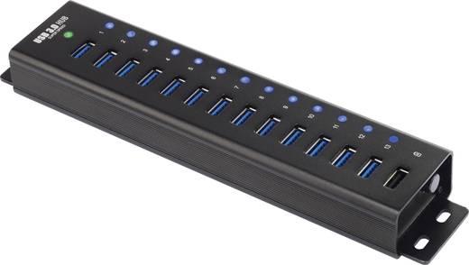 13+1 portos USB hub, alumínium, gyorstöltővel, falra szerelhető, Renkforce
