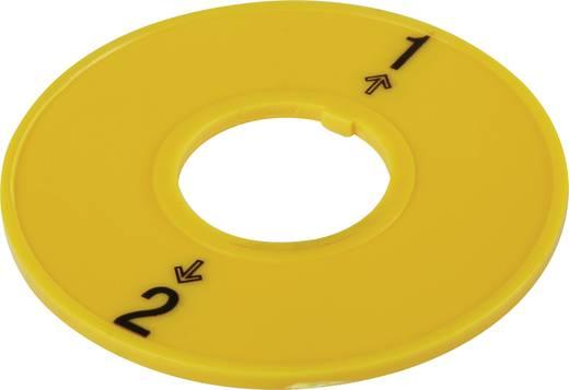 Kapcsoló feliratozó tábla, sárga, 2 állás, Conrad T18