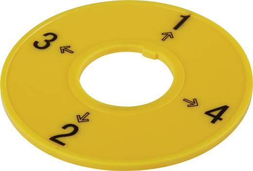 Kapcsoló feliratozó tábla, sárga, 4 állás, Conrad T18