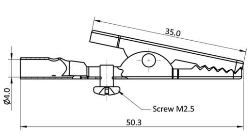 Krokodilcsipesz, fémes, csíptetési tartomány max, 4 mm, hossz: 50,3 mm, econ connect AK14