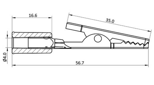 Krokodilcsipesz, fekete, csíptetési tartomány max, 4 mm, hossz: 56,7 mm, econ connect AK18SW