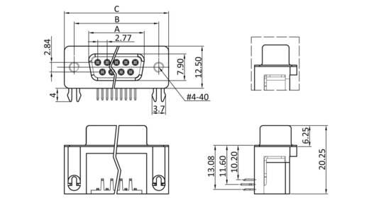D-SUB hüvelyes kapocsléc 90 °, pólusszám: 25 forrcsúcs, econ connect BU25WB/9G