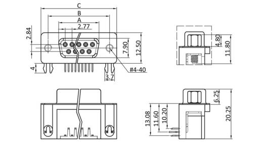 D-SUB hüvelyes kapocsléc 90 °, pólusszám: 37 forrcsúcs, econ connect BU37WB/9