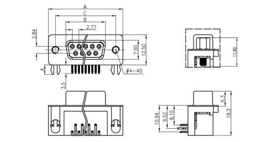 D-SUB hüvelyes kapocsléc 90 °, pólusszám: 9 forrcsúcs, econ connect BU9WB/7